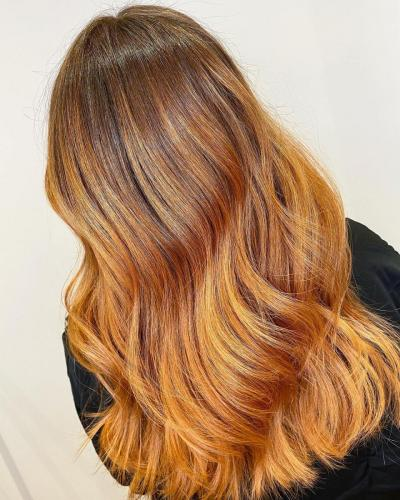 Autumnal copper shades maintained using label,m colour stay shampoo and conditioner.