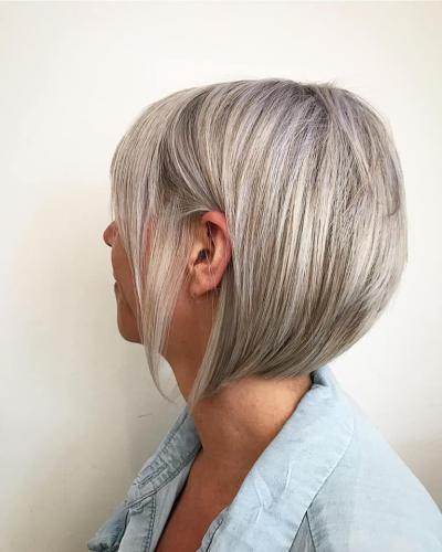 A line graduated bob. Kept vibrant with cool blonde shampoo and conditioner.